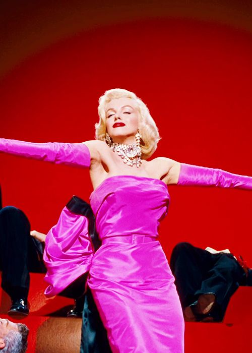 Marilyn Monroe in Gentlemen Prefer Blondes: (born Norma Jeane Mortenson; June 1, 1926 – August 5, 1962) was an American actress, model, and singer, who became a major sex symbol, starring in a number of commercially successful motion pictures during the 1950s and early 1960s.