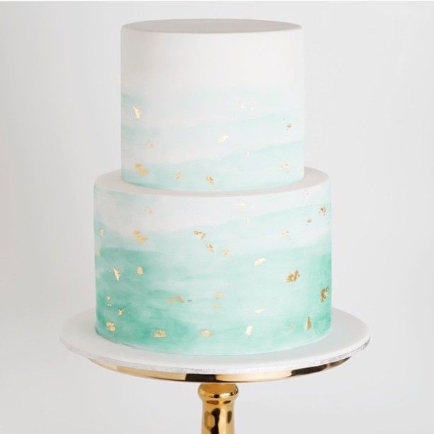 Seafoam Ombré wedding cake with gold flecks.