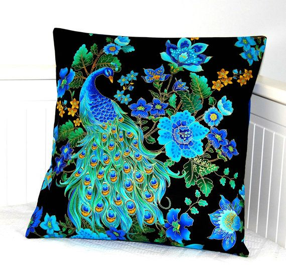 peacock blue decorative pillow cover  cushion by LittleJoobieBoo, £15.50