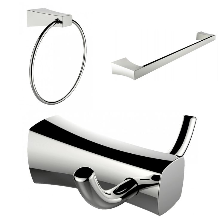American Imaginations Chrome Plated Towel Ring, Double Robe Hook And Single Rod Towel Rack Accessory Set (Chrome), Silver (Metal)