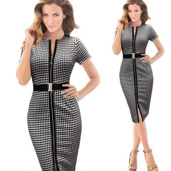 Women\'s Houndstooth Zipup Dress