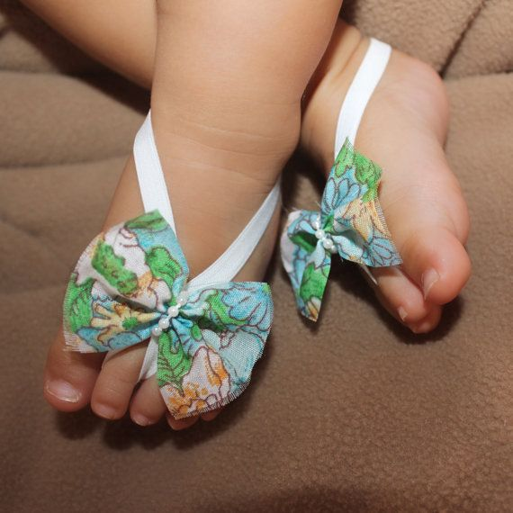 Blue Floral Bow Baby Barefoot Sandals Barefoot by AllBabyGirls