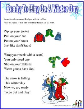 Ready to Play on a Winter DayTargeted Skills:    Winter Weather    Self Concept (Getting Dressed)    Sequence of eventsLearn about weather and the clothes we wear in the winter as you sing and move your way through this