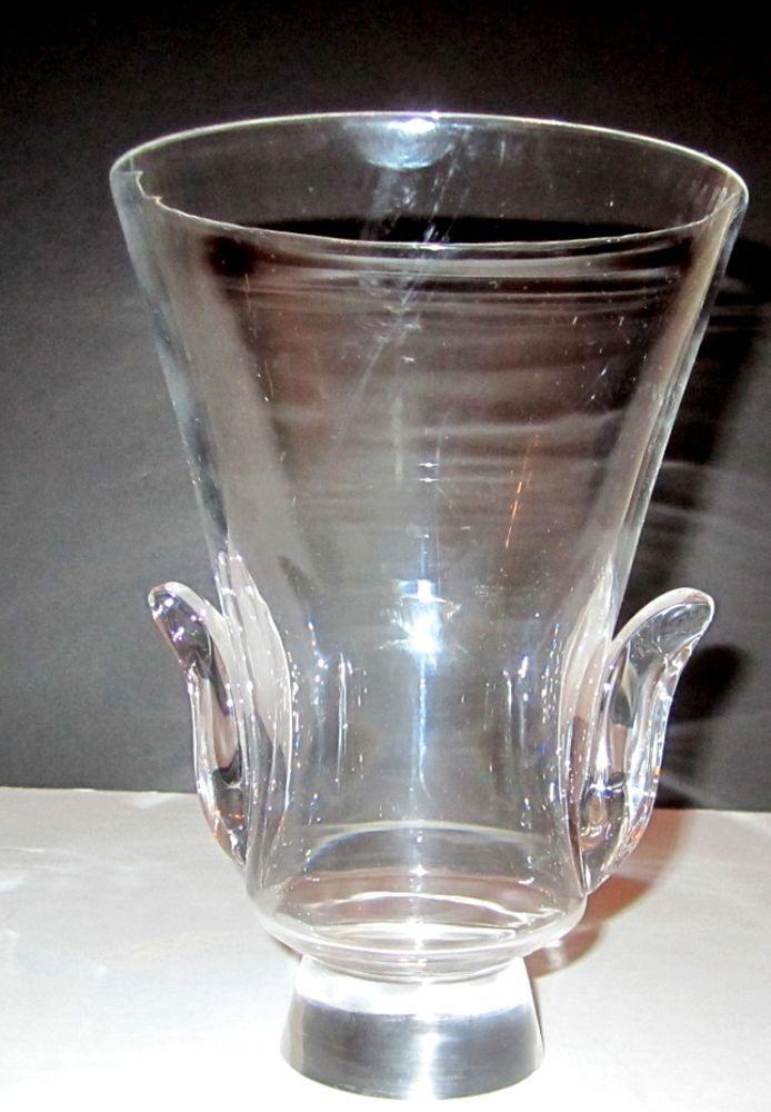 Steuben Art Glass Clear Crystal Lyre Cobra Vase Lloyd
