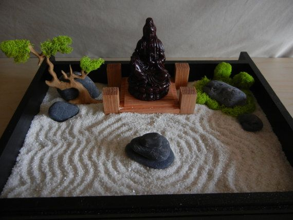 Desk Or Table Top Zen Garden With Solid Oak Stand And