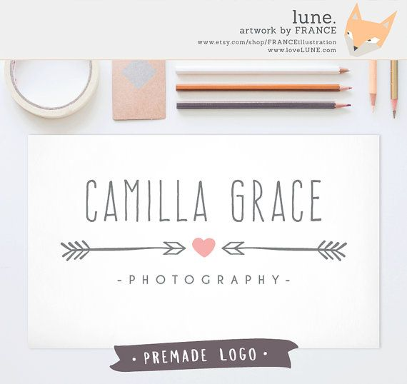 Premade Logo: Arrow Hearts. Customizable by FRANCEillustration