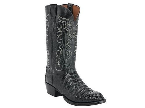 Shop New Lucchese CL7772 Mens Caiman Crocodile & Buffalo Leather Western Cowboy Boots in Black.  Free Shipping | Harrison Avenue