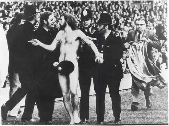 """The first streaker at a major sporting event, also produced the most famous streaking photo ever. This photograph, taken by Ian Bradshaw, was Life magazine's """"Picture of the Year"""" and also won the World Press Photo Award."""