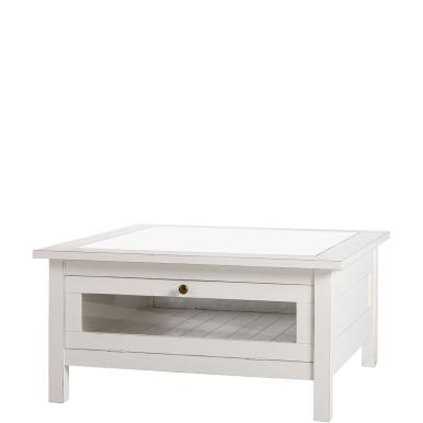 Unobtrusive retro look in an American style, in pure white, with a subtly distressed appearance and rather classic, clean lines (less playful compared to the French country house style) - the Maple Hill range is characterised by its timeless beauty and its particular versatility when combining pieces. This coffee table, below the glass top, features a drawer that can be pulled out from two sides and can be used for decorations and small collectors' objects. With storage area underneath. With…