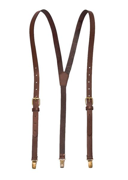 Chestnut Java - Brown Leather Suspenders (Clip-on)