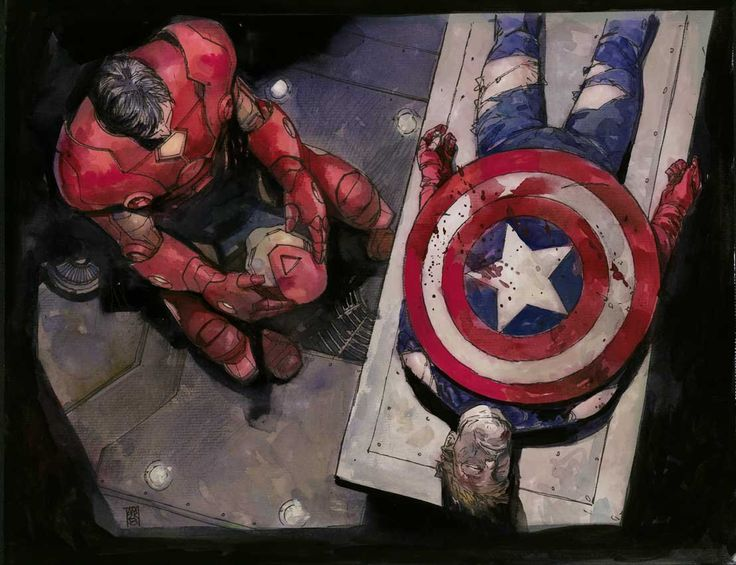 """[Death of Captain America by Alex Maleev]  This is the opposite of my story called """"Echo"""" in which Tony dies trying to save Steve."""