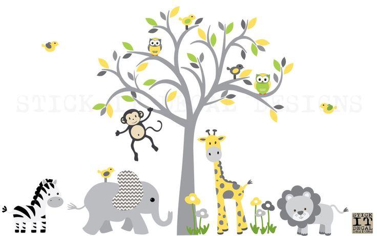 Safari Wall Decal Nursery Wall Decal Jungle by StickItDecalDesigns