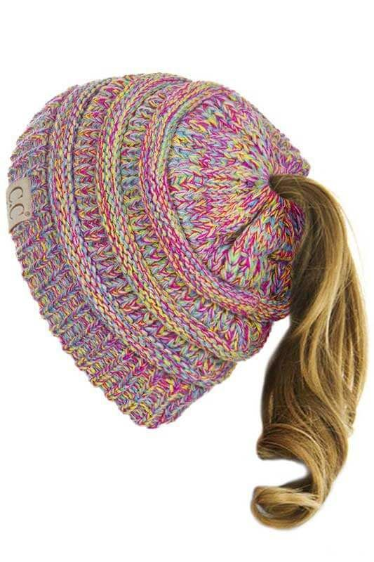edab639cea2 C.C. Exclusives Cable Knit Messy Bun Beanie in Marled Candy MB-816 ...