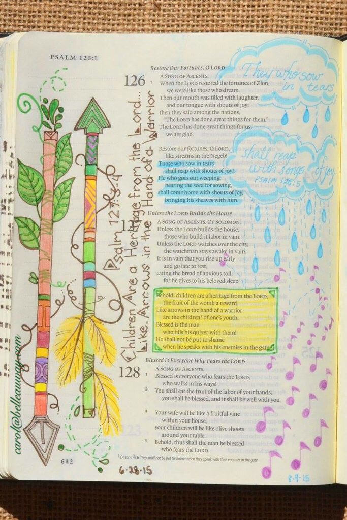 Psalm 126:5, August 9, 2015 #bibleartjournaling #journalingBible #illustratedfaith