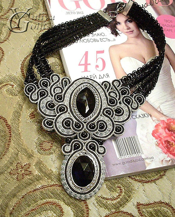 beautiful black and white soutache choker