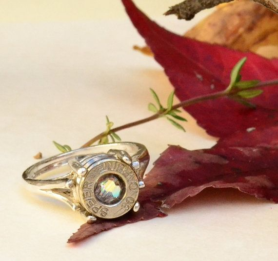 30 Carbine Ring  Bullet Casing  Sterling by LamplighterJewelry, $75.00