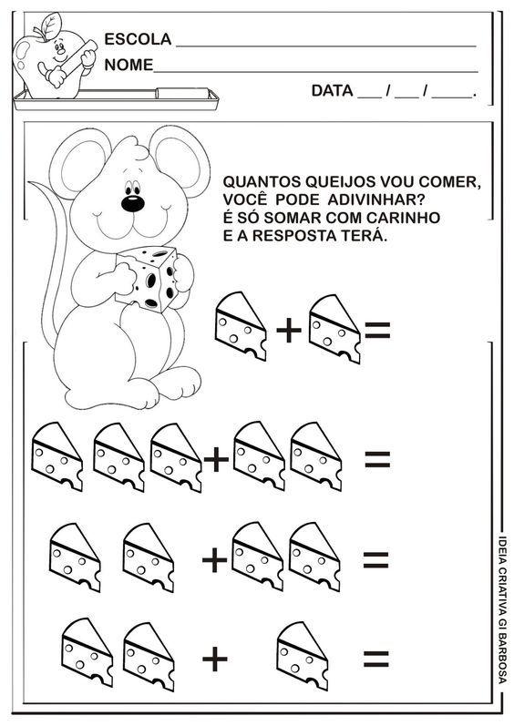 Matemática Infantil: Atividade de Adição Ratinho com Queijo: