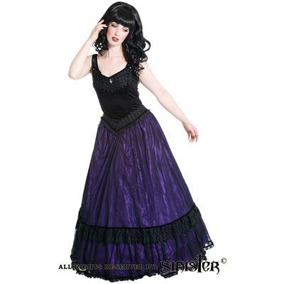 Alexandra lange middeleeuwse gothic jurk van zwart/paars satijn - Gothic Halloween