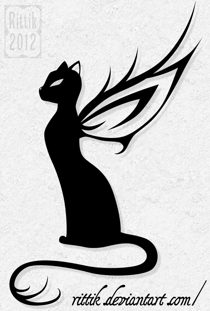 Winged cat tattoo by Rittik on deviantART, would love to have this as a tattoo!