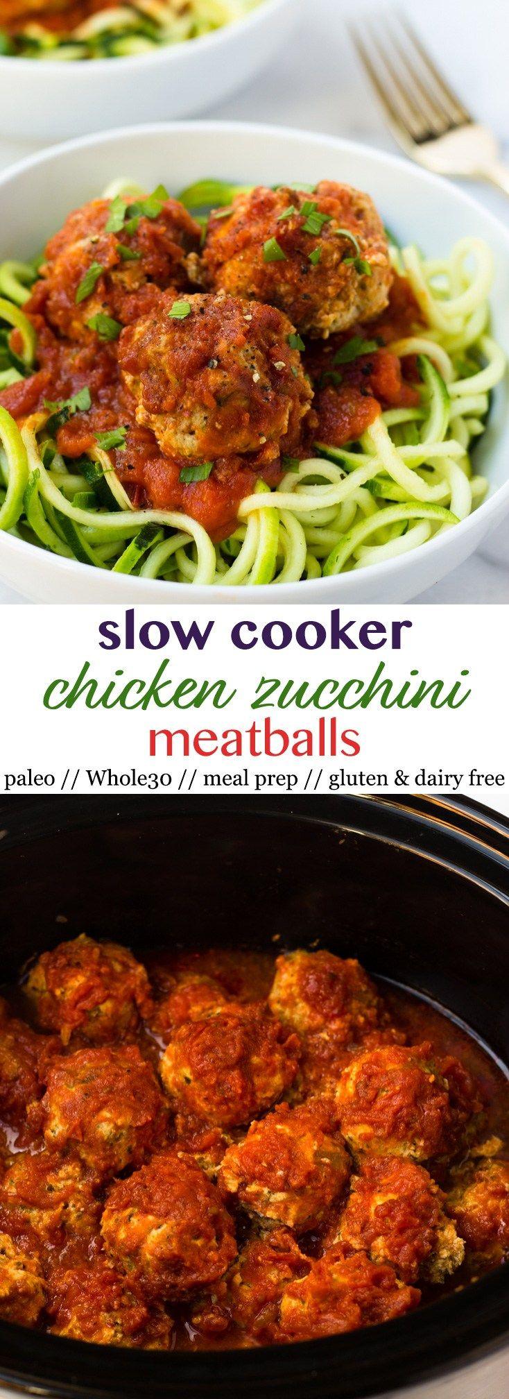 Slow Cooker Chicken Zucchini Meatballs Pinterest Image
