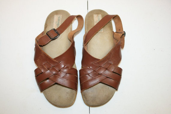 size 10 Mens Leather Sandals10 leather by ANewDayVintage on Etsy, $22.00