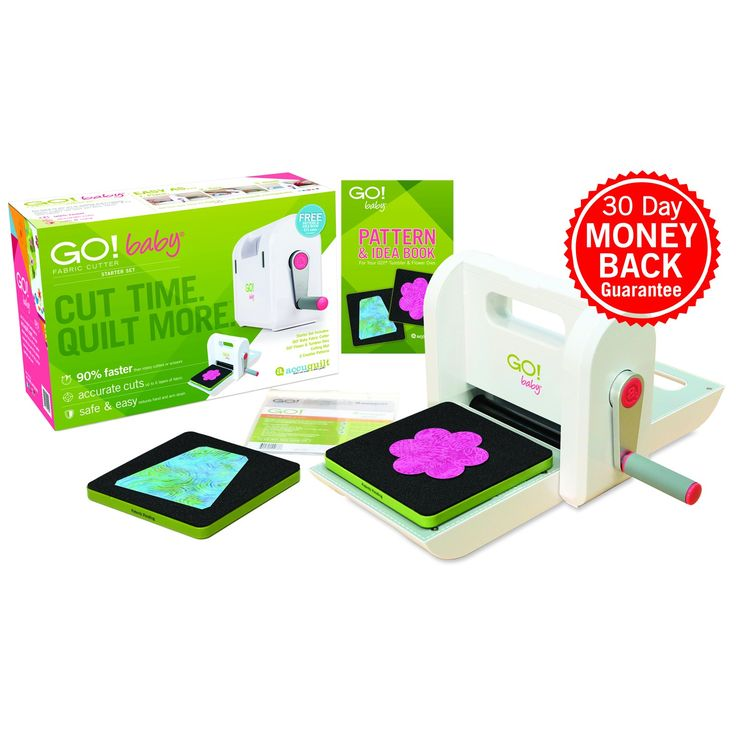"The new GO! Baby Fabric Cutter Starter Set saves you time cutting so you have more time to quilt!90% faster than rotary cutters or scissorsAccurately cut up to 6 layers of fabric at a timeSafe, easy-to-use design helps reduce hand and arm strainUnlimited design options with wide range of quilting shapesThe new GO! Baby Fabric Cutter Starter Set includes the GO! Baby Fabric Cutter, two GO! dies including GO! Tumbler-4 1/2"" (4"" Finished) (55445) and GO! Flower (55446), a 6"" x 6..."