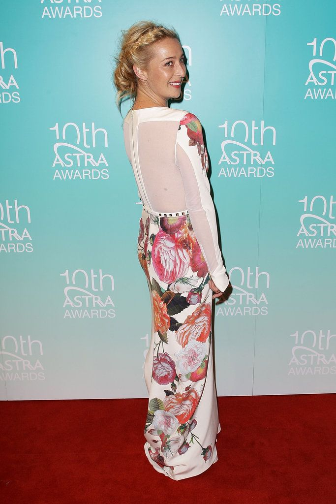 Asher Keddie - Floral floor length dress with sheer back and studded waistband. Fabulous.