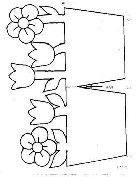 Een bloempotje maken om iets tussen te stoppen | Make a pot of flowers and put something between it | #worksheet #printable #flowers #bloempotje #patroon