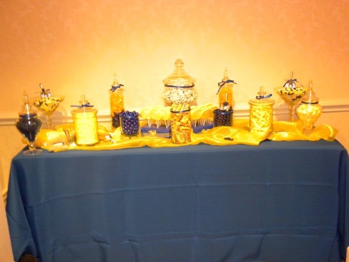 blue and gold themed candy bar