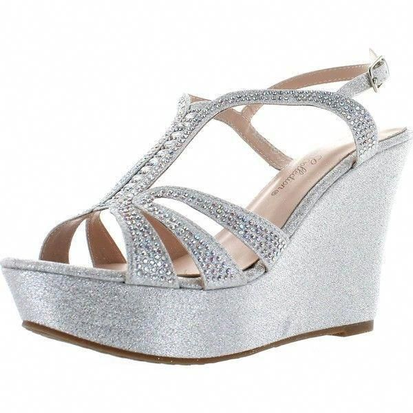 De Blossom Collection Womens Aria 1 Dress Wedge Sparkle Party Sandals 45 Liked On Polyvore Featu Silver Wedge Shoes Sparkly Sandals Wedge Wedding Shoes
