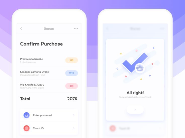 Confirmation Page and pop-up mobile by Filip Legierski