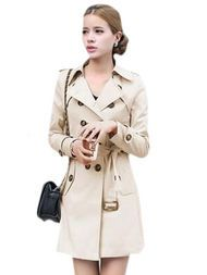 Double Breasted Long Sleeve Solid Womens Trench Coat With Sash