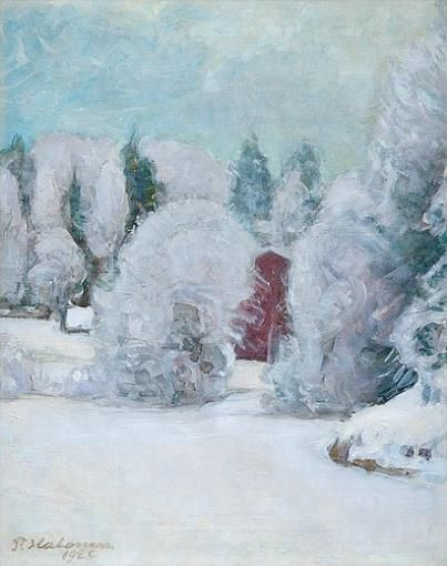 Pekka Halonen, Winter Motif, 1922, The Life and Art of Pekka Halonen - from http://www.alternativefinland.com/art-pekka-halonen/