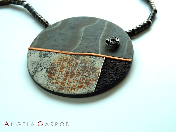 """ Eye to the Future "" Necklace Close Up......................Polymer Clay, Sterling Silver, Aluminium, Copper and patinated Steel textured and rolled through rolling mill."
