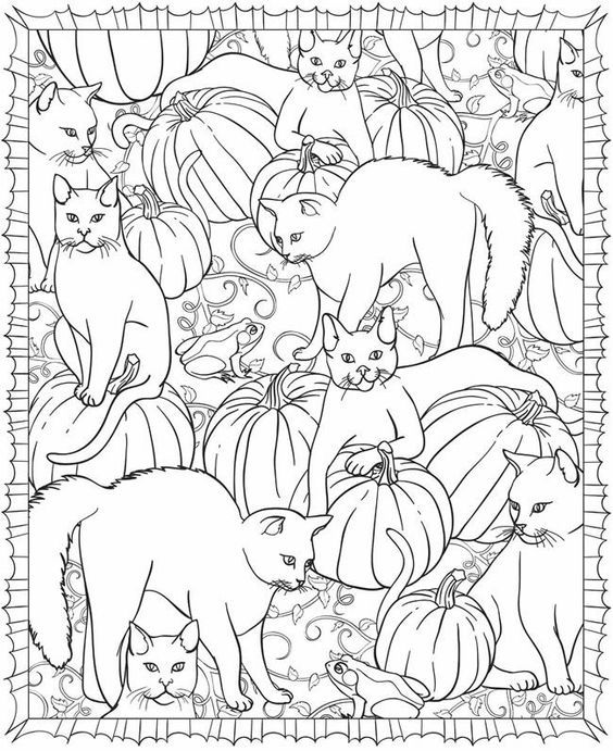 Sample Page From Dover Publications HalloweenScapes Coloring