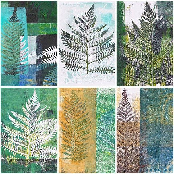 Mono printing fern leaves