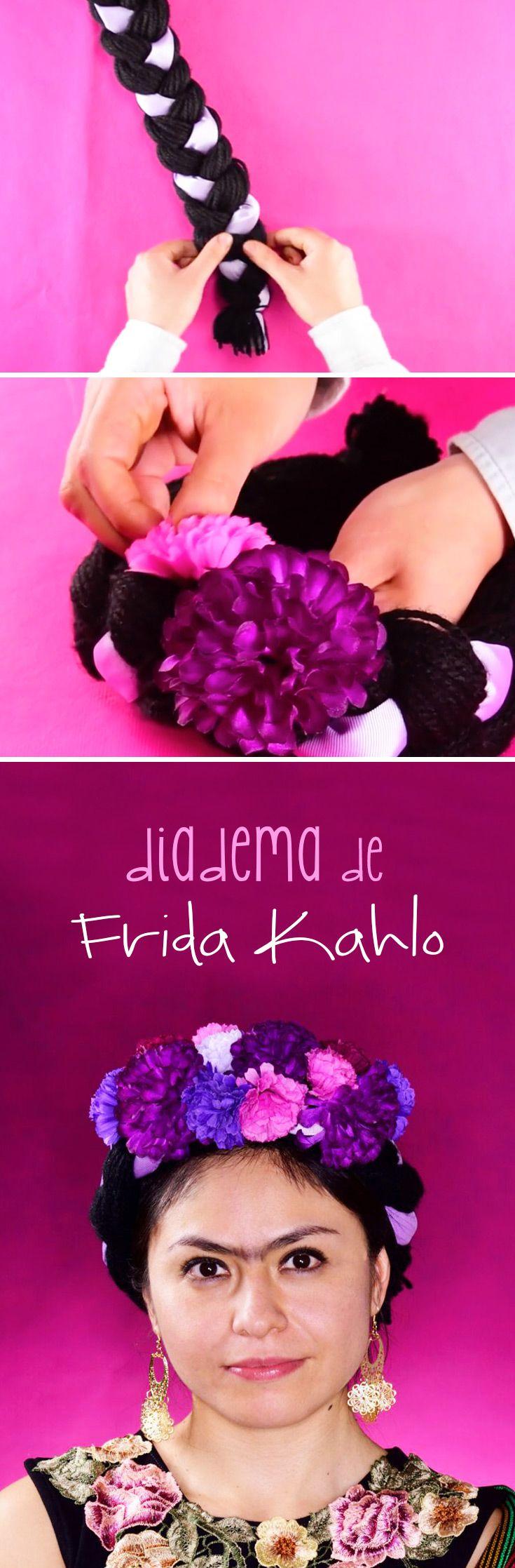 ¿Qué más mexicano que Frida Kahlo? Celebra el 15 de septiembre con su estilo.   Materiales •Estambre negro •Cordón elástico •Flores artificiales •Silicón caliente Mayo, Halloween, Party Ideas, Crown, Color, Head Bands, Mexican Flowers, Plaits Hairstyles, Corona