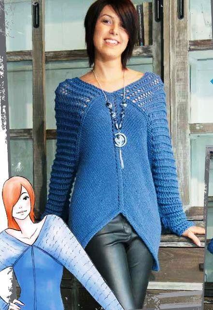 Пуловер с ажурными плечами, free pattern