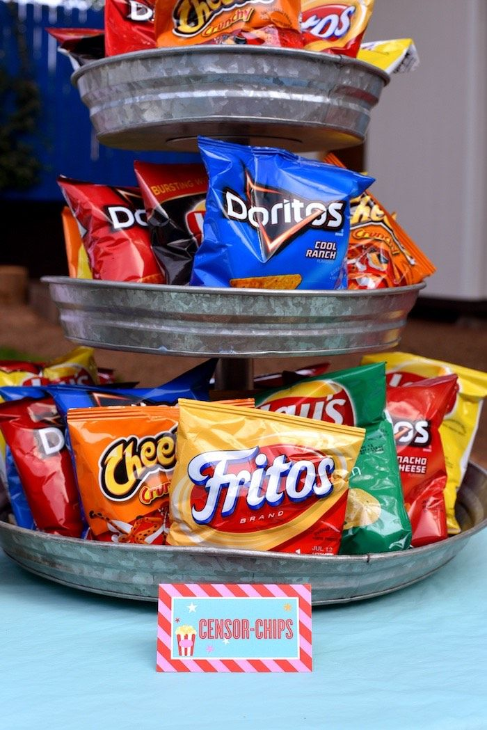 Censor-chips from a Drive In Movie Night Birthday Party via Kara's Party Ideas | KarasPartyIdeas.com (28)
