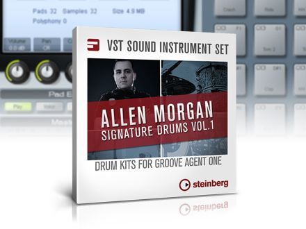 Steinberg has released Allen Morgan Signature Drums Vol 1, a expansion pack for Groove Agent One drum sampler that is included with Cubase, Sequel and Nuendo NEK.