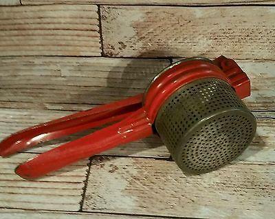 Vintage RED HANDLED POTATO RICER Masher Press Antique Kitchen Gadget Farmhouse