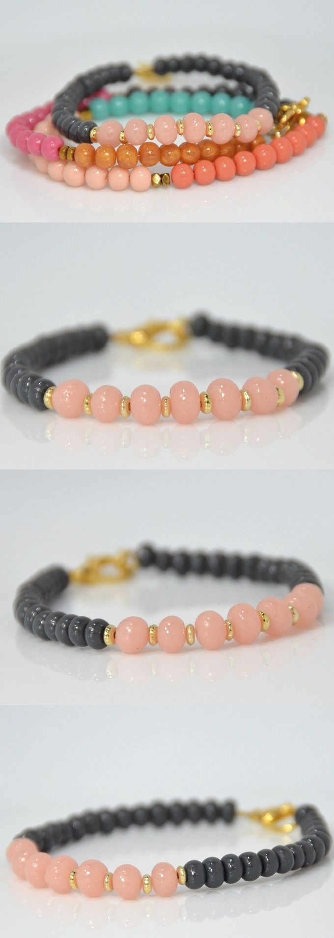 Stackable bracelet with handmade beads. Cute gray and blush colors. will look amazing for bridesmaids gifts.