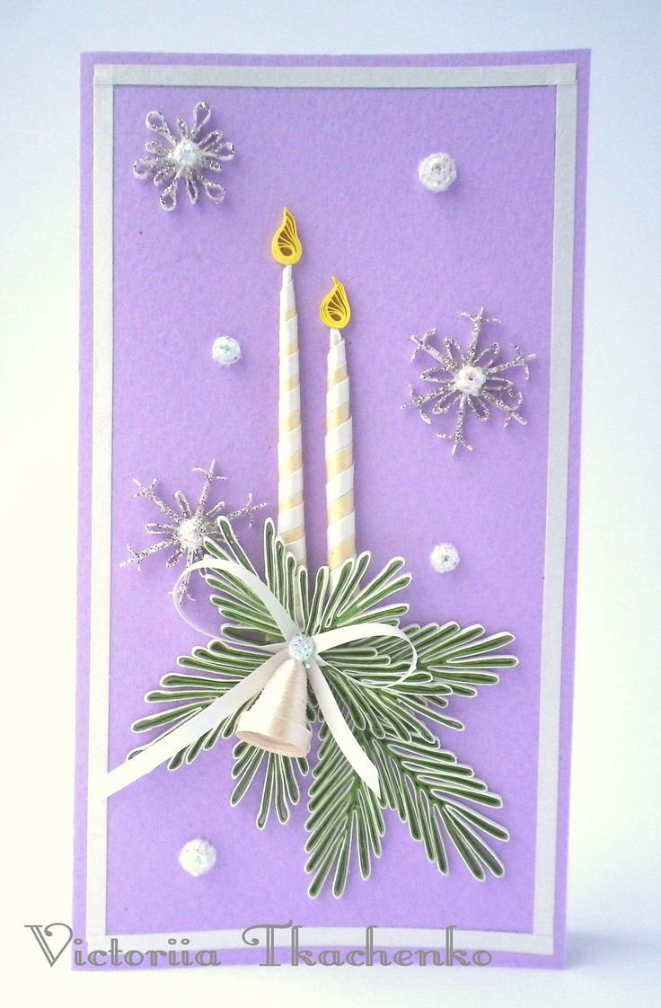 Quilling Greeting card - Christmas quilling card - New Year quilling card - Magic Christmas candles