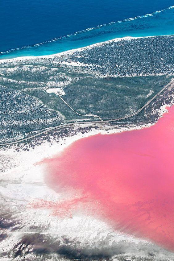 Western Australia – the Hutt Lagoon near Kalbarri and the Pink Lake and Lake Hillier near Esperance.