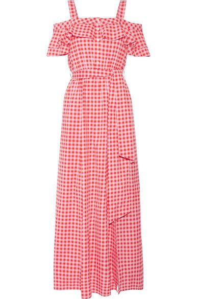 EXCLUSIVE AT NET-A-PORTER.COM. Nostalgic with memories of her Southern upbringing, Reese Witherspoon created Draper James when she returned to her hometown with a family of her own. This gingham cotton and silk-blend 'Dolly' dress has a cold-shoulder silhouette that's trimmed with ruffles. The front split creates breezy movement with each step.