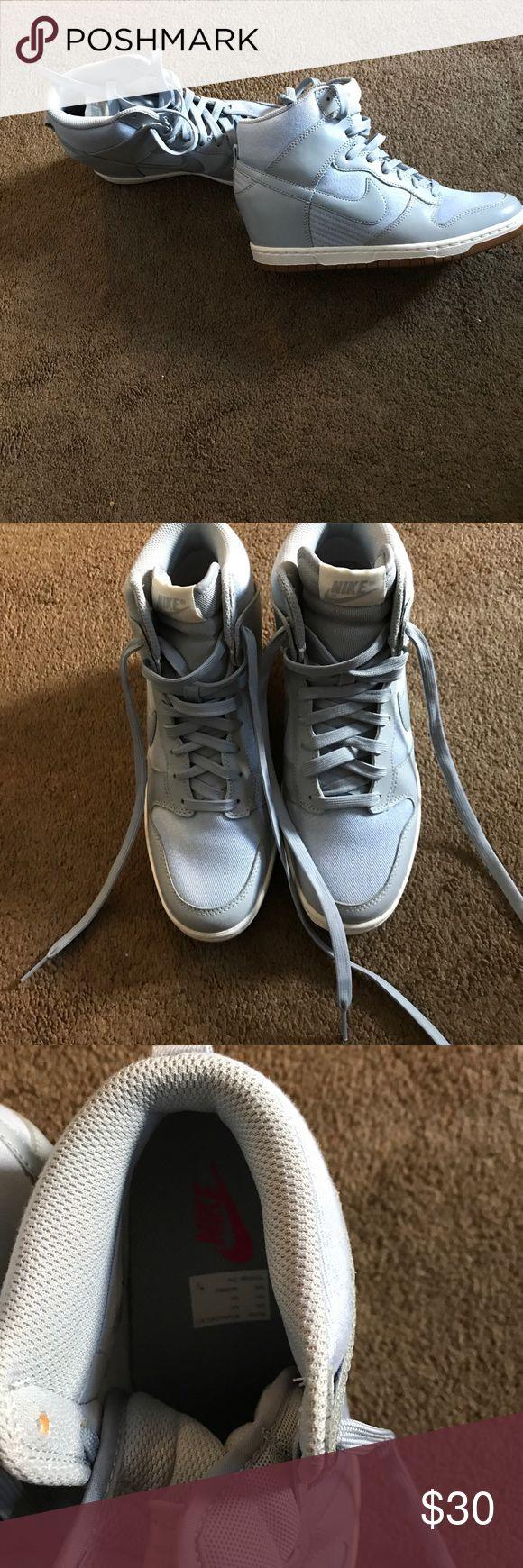 Nike Wedge Sneakers Nike Wedge baby blue Wedge sneakers gently worn Nike Shoes Sneakers