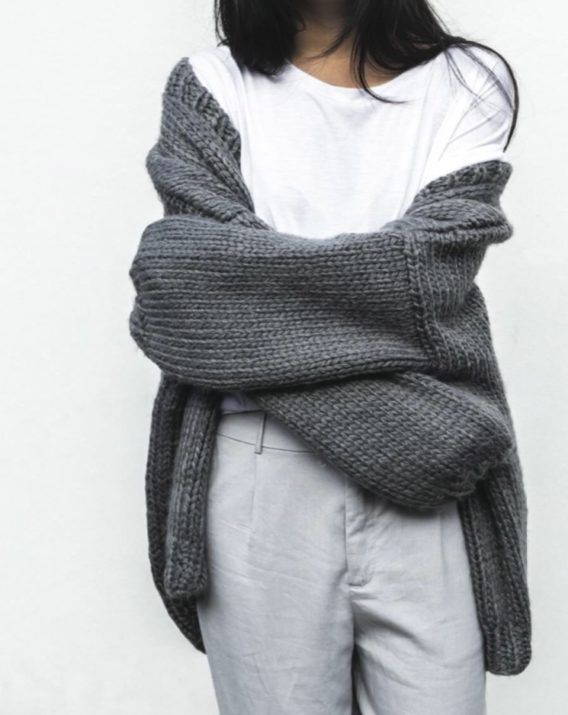 Hand Knitted Chunky Cardigan - Grey - Blossom & Glow