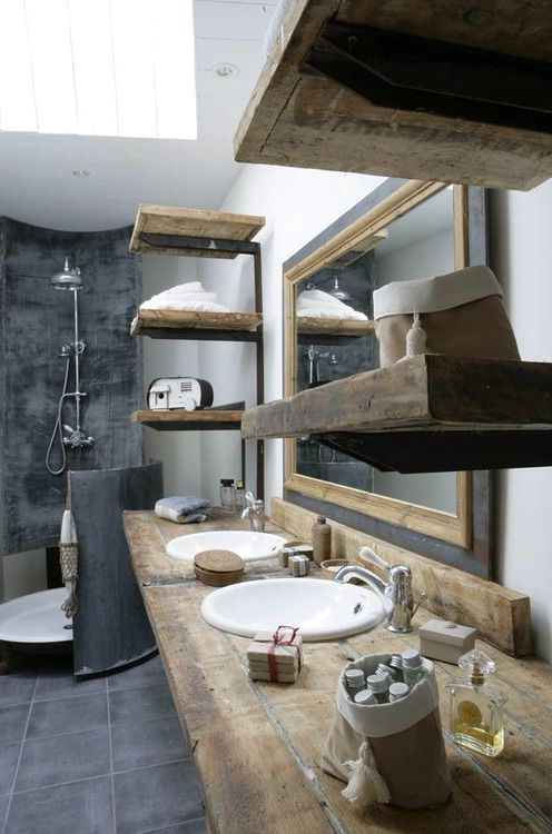 деревянная мебель для ванной комнаты в индустриальном стиле