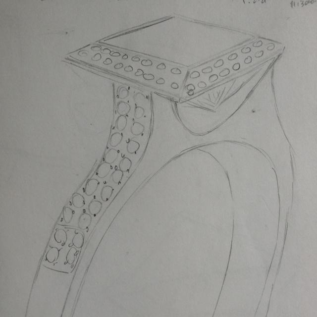 Princess cut diamond engagement ring design sketch with double diamond halo