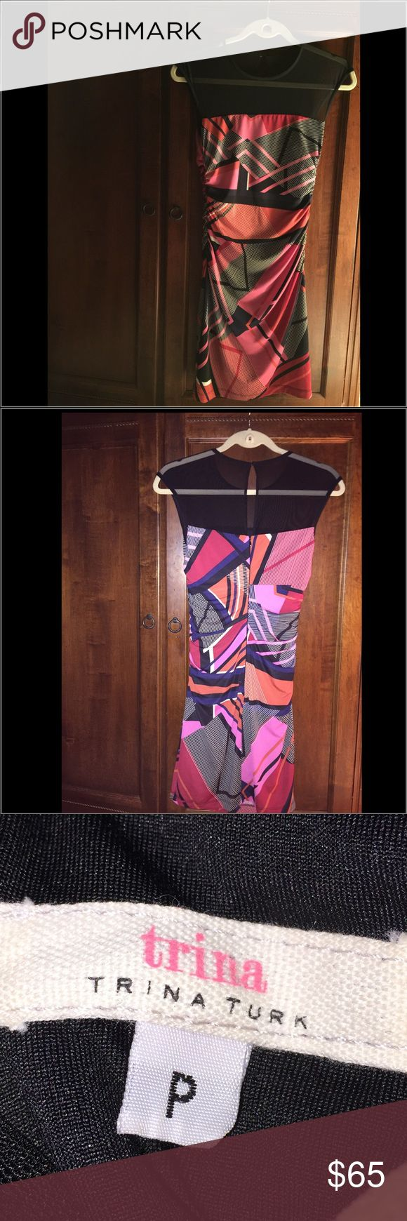 Gorgeous dress by Trina Turk Lined zip up with mesh sheer at top of dress. Very flattering and the colors are amazing. You will stand out beautifully❤️❤️❤️ gently worn 1x Trina Turk Dresses Midi